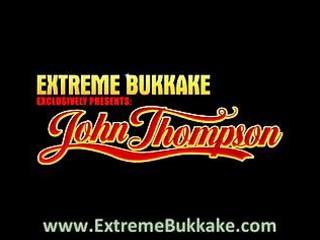 Extreme bukkake with a redhead milf