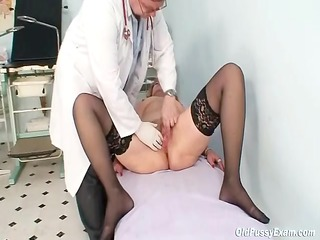 redhead granny immodest cookie stretching in gyn