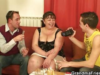 two studs gangbang obese mature slut