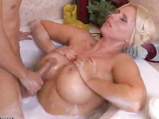 blonde in baroque bath is nailed by a studhorse