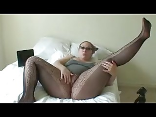 plump girl in black pantyhose