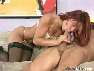 redhead mother i rides dick in her lingerie