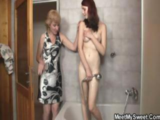 blond mom interrupts daughters shower and soon