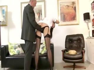 mature stocking doxy sucks cock