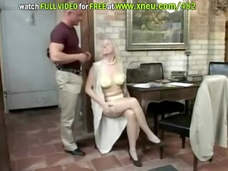 blond granny in stockings sucks ramrod and then
