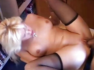 Sexy blonde milf in stockings