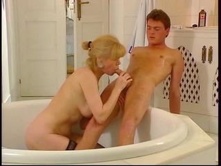 aged german woman screwing in bath