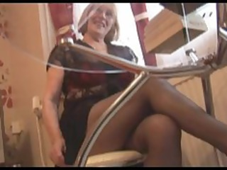 Hairy Granny in pantyhose striptease