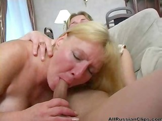 breasty blonde russian aunt blows and bangs her
