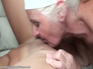 sexually excited old lesbo woman enjoys licking