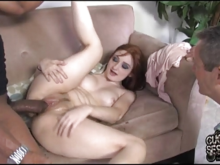 cuckold eats dark cum out of his wifes snatch