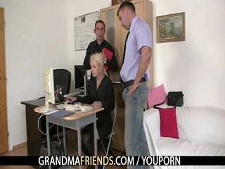 two co-owners gangbang hawt aged lady