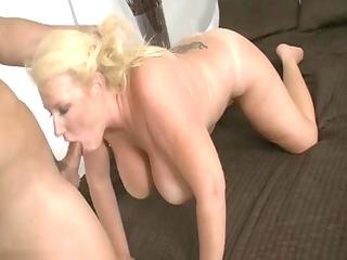 aged blonde slut sucking schlong