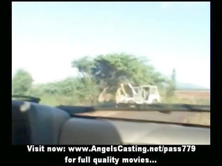 sexy lesbian allies riding car and toying and
