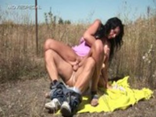 horny milf gets drilled hard outdoor