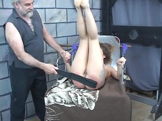 hard spanking for hot youthful darksome brown