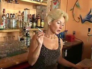 aged barmaid smokin fetish