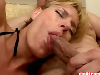 excited milf in fishnet hose receives banged