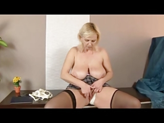 obese golden-haired mature in nylons
