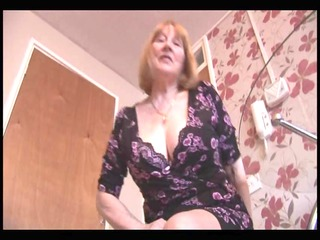 breasty unshaved granny striptease