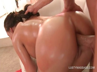 oily lustful wench gets ass nailed by hot masseur