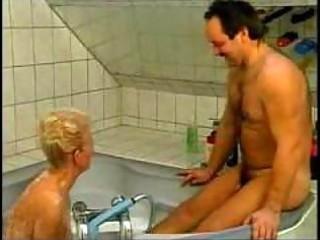 naughty german grandma drilled in bathtub amateur