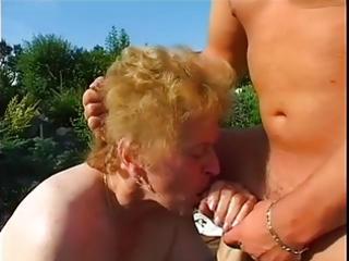 obese granny screwed in garden