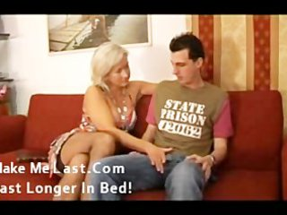 sexy mature golden-haired enjoying youthful dick