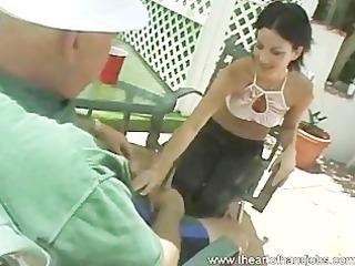 schoolgirl outdoor tugjob