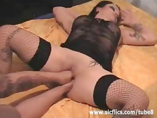 brunette hair slut with tattoos acquires bawdy
