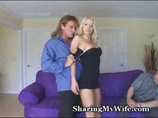 young golden-haired wife screws a hunky boy and