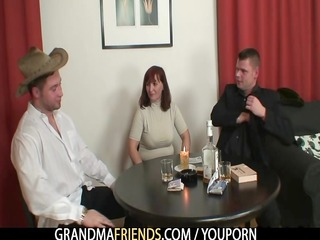 poker playing granny getting drilled by guys