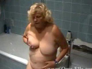 granny teasing in the washroom