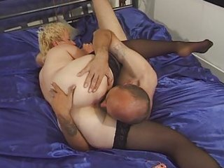 granny in stockings toyed and screwed